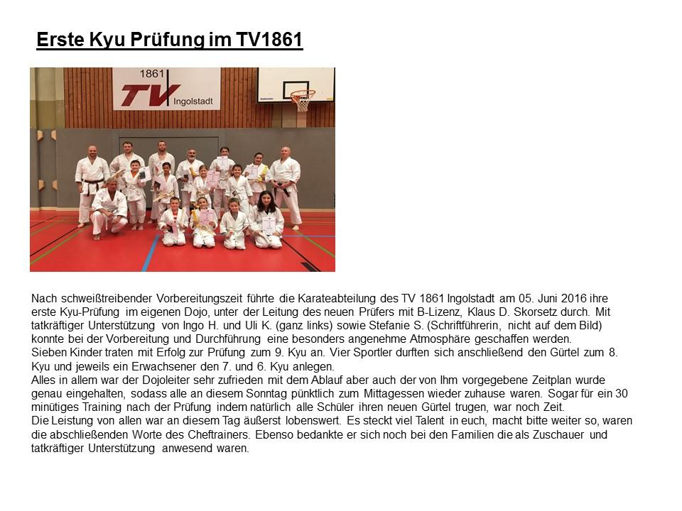 Erste Kyu Prüfung TV 1861